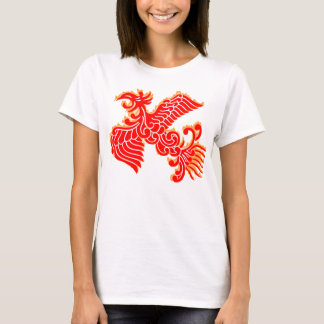 Flaming Red Phoenix Rising on White T-Shirt