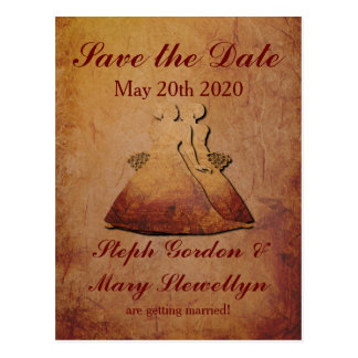 Flaming Red Rustic Lesbian Save the Date Postcard
