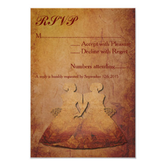 Flaming Red Rustic Lesbian Wedding RSVP Customized Invitation Cards