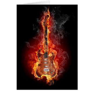 Flaming rock guitar greeting card