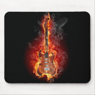 Flaming rock guitar mouse mat