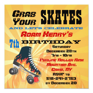 Flaming Roller Skating Birthday Party Invitation