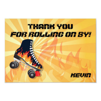 Flaming Roller Skating Party Thank you note card