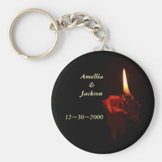 Flaming Rose Basic Round Button Key Ring