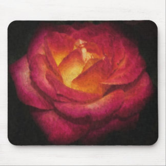 Flaming Rose Oil Painting Mouse Pad
