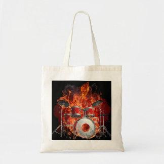 Flaming Skeleton on Drums Tote