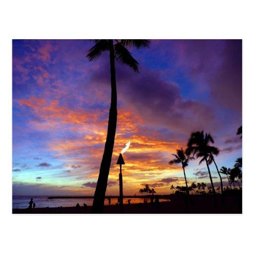 Flaming skies over Waikiki beach Postcards