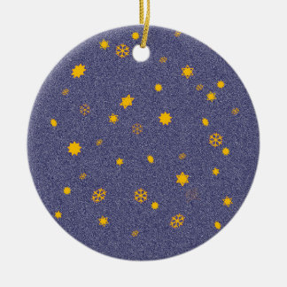 'Flaming Skies'/'Stars through Snowfall' Round Ceramic Decoration