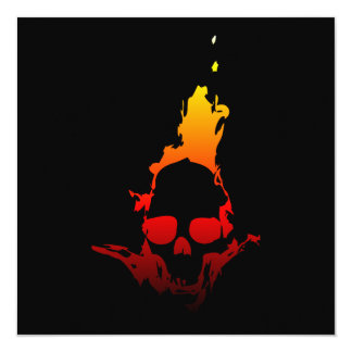 Flaming Skull 13 Cm X 13 Cm Square Invitation Card