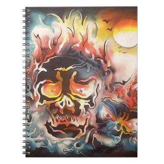 flaming skull abstract art notebook
