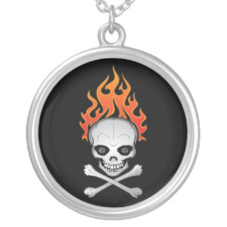 Flaming Skull and Crossbones Necklace
