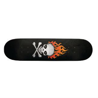 Flaming Skull and Crossbones Skateboard
