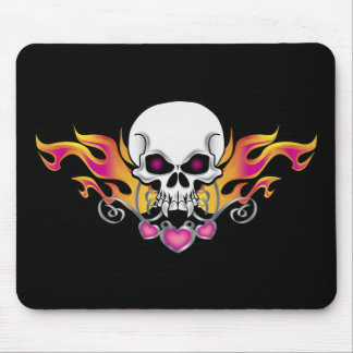Flaming Skull and Hearts Mouse Mat