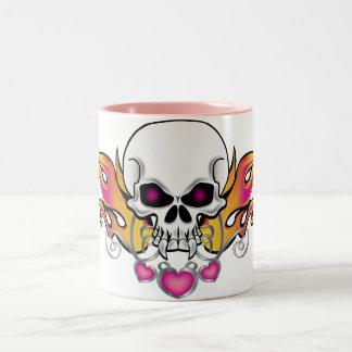 Flaming Skull and Hearts Two-Tone Mug