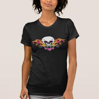 Flaming Skull and Hearts Tee Shirt