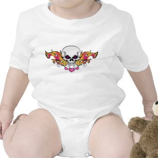 Flaming Skull and Hearts T-shirt