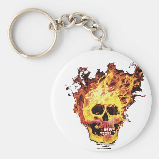 Flaming Skull Basic Round Button Key Ring
