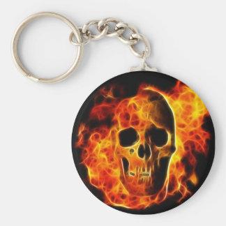 Flaming Skull Basic Round Button Key Ring