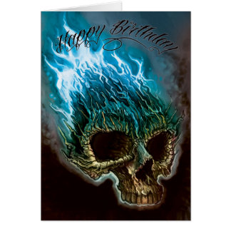 Flaming Skull Birthday Card