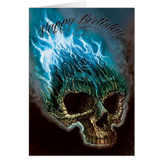Flaming Skull Birthday Card