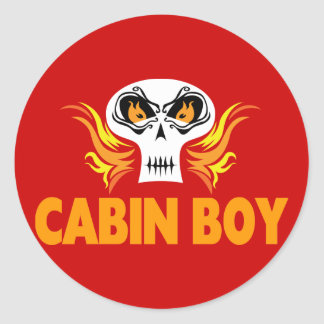Flaming Skull Cabin Boy Stickers