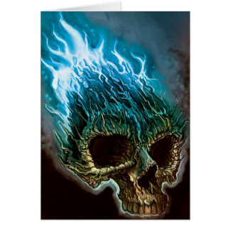 Flaming Skull Card