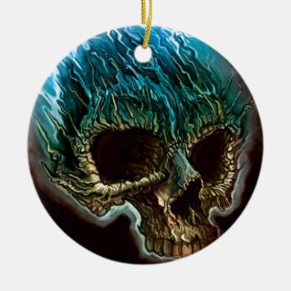 Flaming Skull Christmas Ornament
