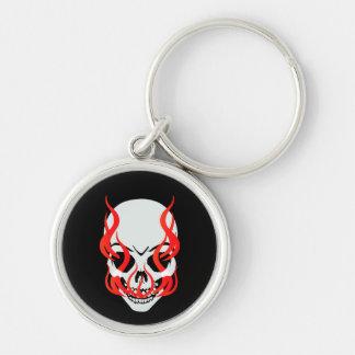 Flaming Skull Key Chain