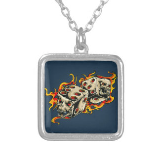 Flaming Skull Lucky Dice. Square Pendant Necklace