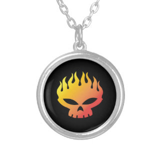 Flaming Skull Personalized Necklace