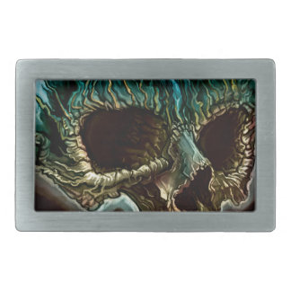 Flaming Skull Rectangular Belt Buckle