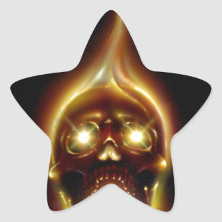 Flaming Skull Star Sticker