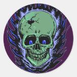 Flaming Skull Tattoo Round Sticker