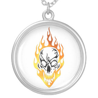 Flaming Skull Tattoo Silver Plated Necklace