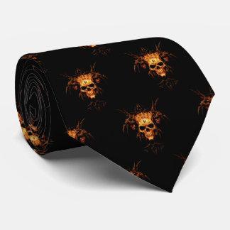Flaming skull tie