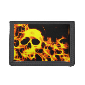 Flaming skull trifold wallet