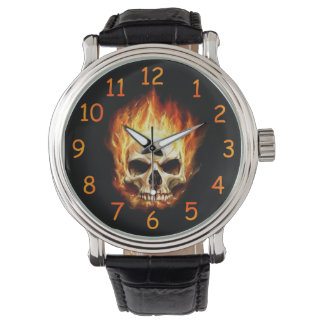 Flaming Skull Watch