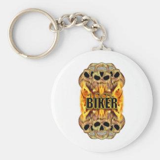 Flaming Skulls 100% Biker Basic Round Button Key Ring
