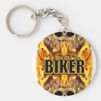 Flaming Skulls 100% Biker Basic Round Button Key Ring