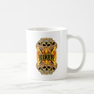 Flaming Skulls 100% Biker Coffee Mug