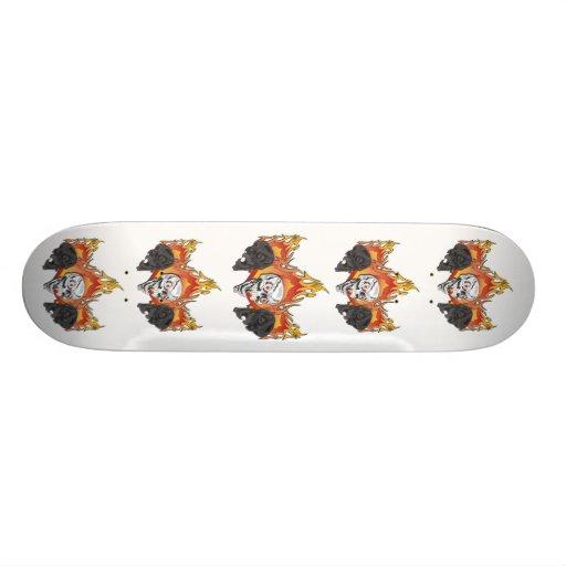Flaming Skulls Skate Board