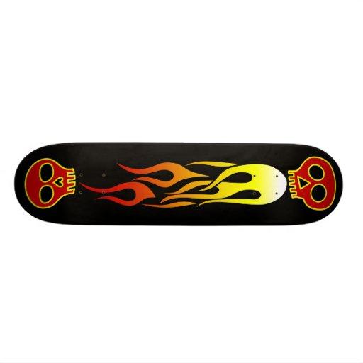 flaming skulls skate board deck