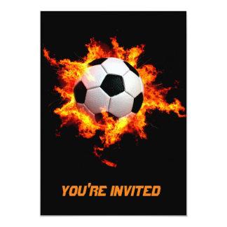 Flaming Soccer Ball 13 Cm X 18 Cm Invitation Card