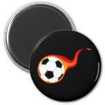 Flaming soccer ball 6 cm round magnet