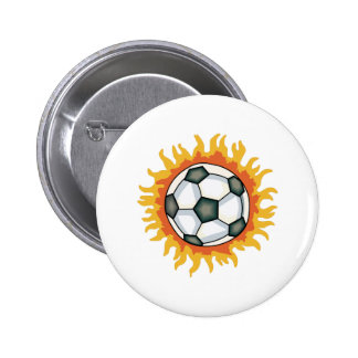 FLAMING SOCCER BALL 6 CM ROUND BADGE