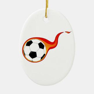 Flaming Soccer Ball Christmas Ornament