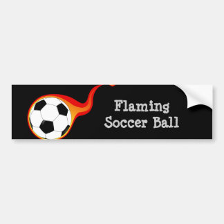 Flaming soccer ball fan bumper stickers
