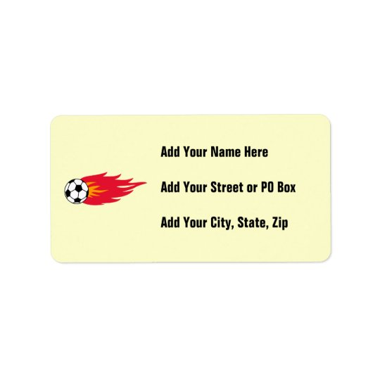 Flaming Soccer Ball T-shirts and Gifts Address Label