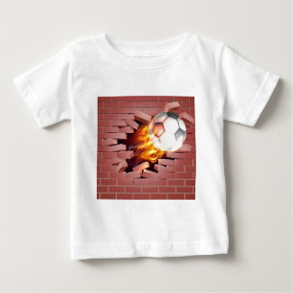 Flaming Soccer Football Ball Breaking Through Bric Baby T-Shirt