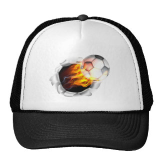 Flaming Soccer Football Ball Tearing a Hole in the Cap